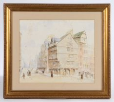 British school, unsigned watercolour of a town scene, housed in a gilt frame, the watercolour 32.5cm