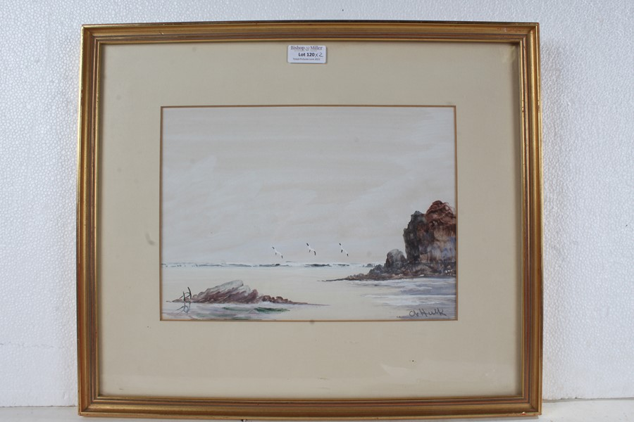 Attributed to Abraham II Hulk (1851-1922), two signed watercolours, coastal scenes, housed in gil