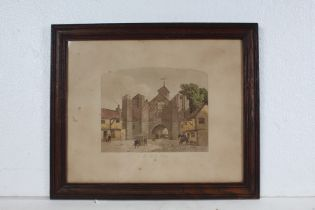 Five framed prints depicting Ipswich scenes, Bourne Bridge 1780, the Town Hall 1810, the Market