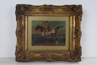 Gilt framed oleograph, depicting a gentleman on horseback, 19cm wide x 14.5cm high