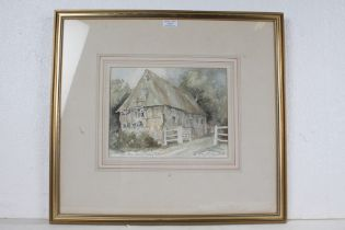 J. Haydn Jones, 20th Century, Old Barn, Buxhall Rectory, Suffolk, pencil signed watercolour,