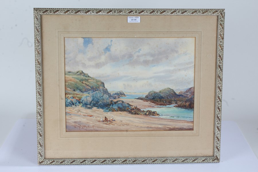 British School, a coastal watercolour, indistinctly signed, housed in a glazed frame, the