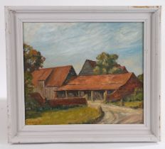 Thompson, farmyard with barns, signed oil on board, housed in a white painted frame, the oil 33.