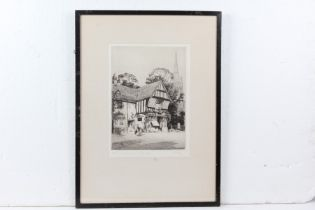 A.J. Meyer, the Saracens Head Kings Norton, signed etching, numbered 36/120, housed in an ebonised