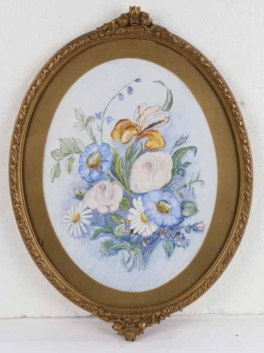 Dorrie Green, still life study of wildflowers, watercolour, housed in an oval gilt and glazed frame,