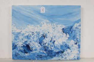 Ann Sanders, (pupil of Maggi Hambling), seascape study, unframed oil on canvas, signed to the