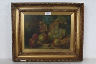 19th Century still life study of fruit, indistinctly signed, oil on board, housed within a gilt