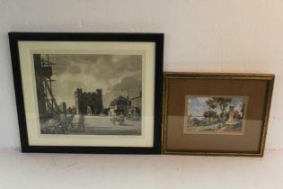Leonard Russell Squirrell en grisaille print, the south gate Kings Lynn, coloured print, Freston