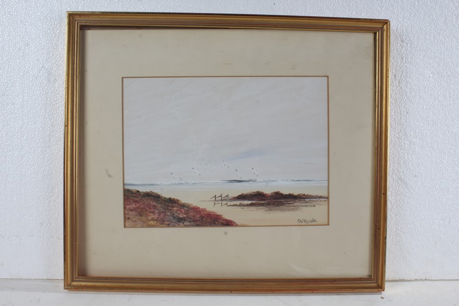 Attributed to Abraham II Hulk (1851-1922), two signed watercolours, coastal scenes, housed in gil - Image 2 of 2