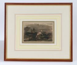 19th Century coloured engraving of a hunting scene, with two gentlemen holding guns and dogs to