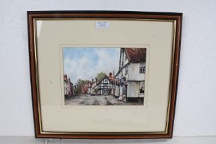 Reg Siger, Hawks Mill Street, Needham Market, signed watercolour, housed within a wooden and