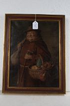 Oleograph depicting a monk carrying a basket, housed in a red and gilt frame, the oleograph 29cm x