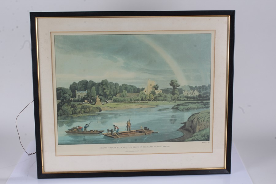 """Prints to include """"Staines Church with the City Stone on the Banks of the Thames"""", """"Abingdon - Image 2 of 5"""