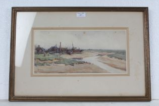 H A Macfarlane, Estuary with a ship yard, signed H.A.M, Rowley gallery label to the reverse, 35cm