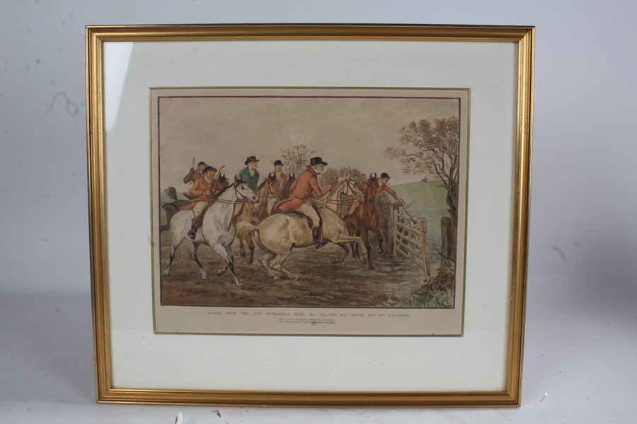 After Randolph Caldecott (1846-1886), four prints on paper, 'Scenes with the Old Mickledale Hunt'