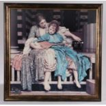 """After Frederic Leighton, """"the music lesson"""", coloured print, housed in a brown mottled glazed frame,"""