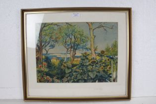 """Tornine? """"Garden in Marseilles"""", indistinctly signed watercolour, housed in a gilt and glazed frame,"""