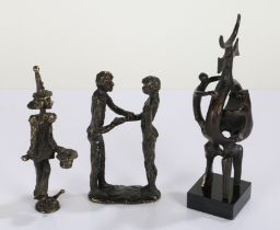 Three modernist bronze sculptures, depicting figures and a jester, the tallest 21.5cm high(3)