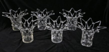 Set of six Modernist style glass vases, each with lattice flared rims and necks, each approx. 32cm