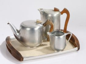 Picquot ware tea set and tray, to include a tray, coffee pot, tea pot and milk jug, signed to the