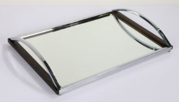 Art Deco style chrome and mirrored drinks tray, having arched chrome carrying handle either side