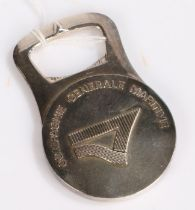 Christofle silver plated bottle opener, reading 'Compagnie Generale Maritime', 8cm