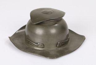 Tudric pewter Art Nouveau inkwell, having leaf shaped lid (AF), with bulbous inkwell having stylised