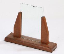 Art Deco style teak picture frame, raised on rectangular base, 23.5cm wide