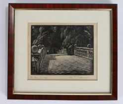 John F. Greenwood, woodblock print 'On Clare Bridge', pencil signed to margin, housed within a