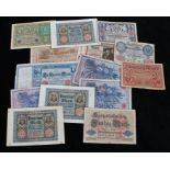 Selection of pre Second World War German banknotes including, a 1922 dated 5000 Mark banknote, a