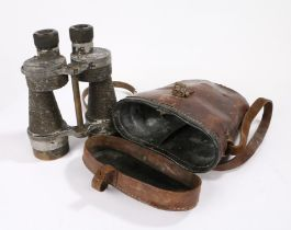 Second World War British 7 x 50 military binoculars, 'Binos Prism No 5' to one side of casing,
