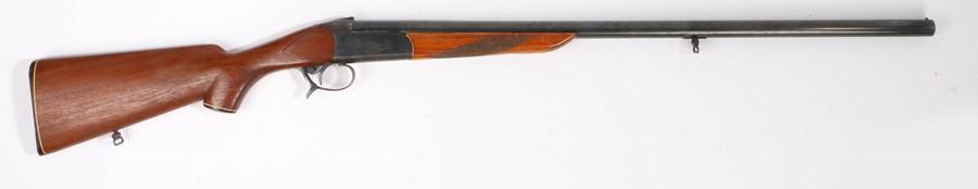 Baikal Model IJ-18 12 bore shotgun, single barrel, serial number XO4386, made in the U.S.S.R. Note a