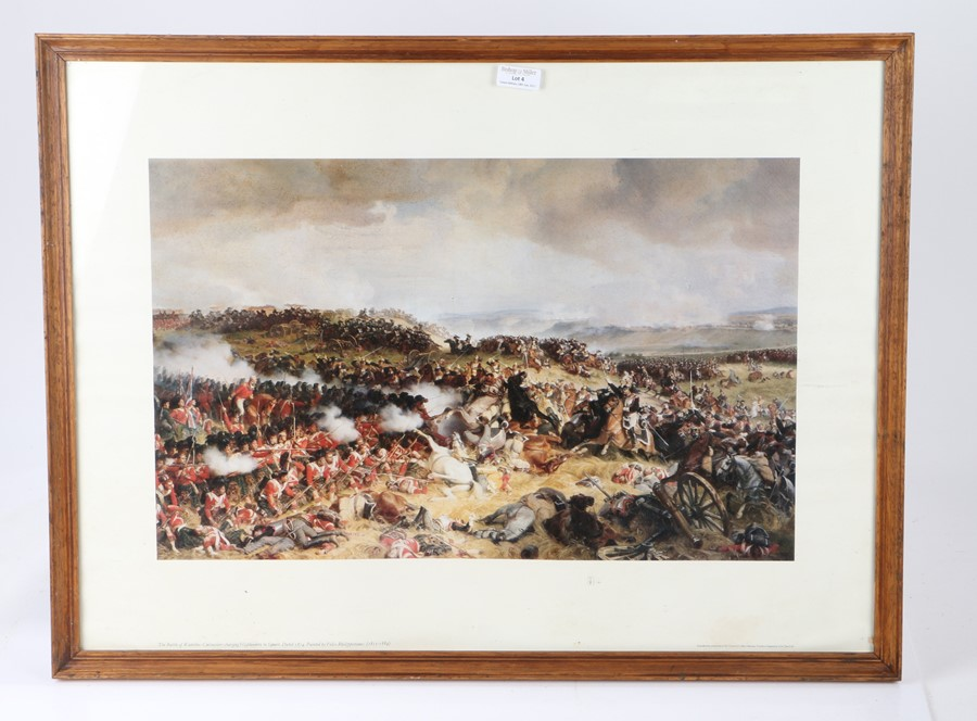 Framed print of the Battle of Waterloo after the painting by Felix Philippoteaux 67 cm x 49 cm