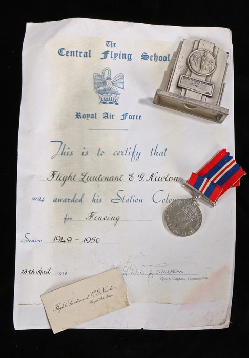 Grouping to a Royal Air Force Officer Flight Lieutenant E.G.Newton, to include 1939-1945 British War