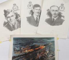 Three limited edition prints of Second World War Royal Air Force V.C. winners Bill Reid, John