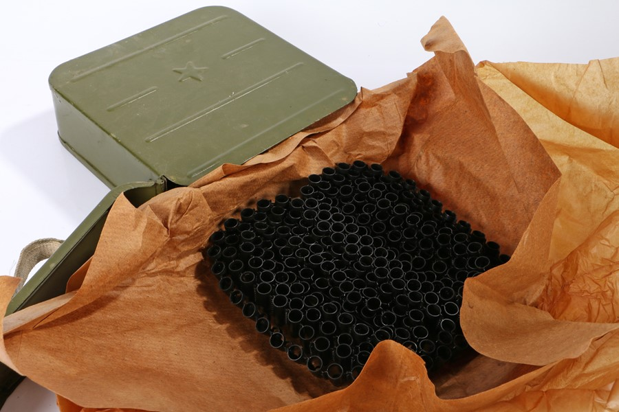 Russian Maxim Machine Gun Ammunition Box containing a quantity of link for the ammunition wrapped in - Image 2 of 2