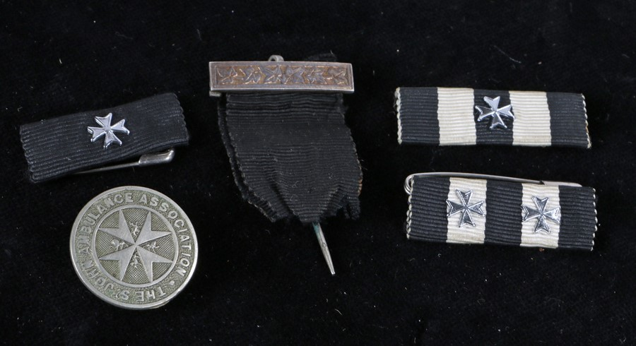 St Johns Ambulance Association lapel badge, together with St Johns associated medal ribbons