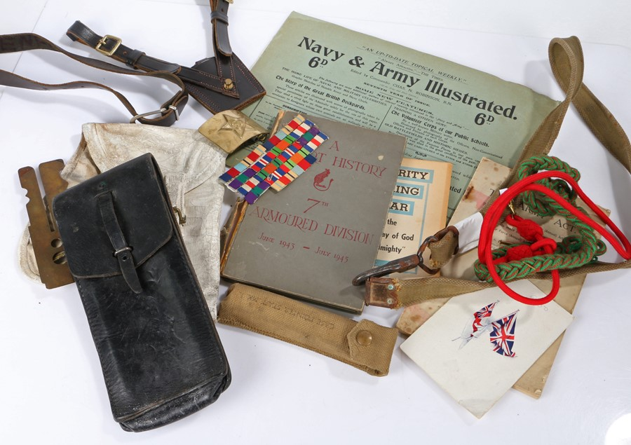 Mixed lot to include, Browning 9mm pistol holster, Bren Gun sling, sword frog, button stick, 1926