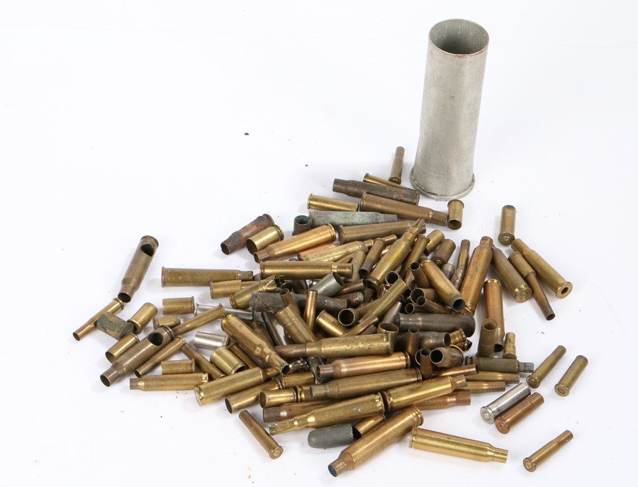 Collection of empty brass cartidge cases, various small calibres, (qty)