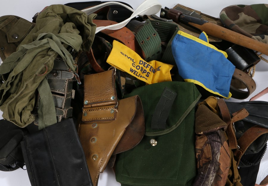 Quantity of military equipment, belts, pouches, holsters, etc, some WW2 but mainly post war, (qty)