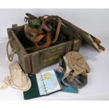Mixed lot, wooden 7.62mm ammunition crate containing mixture of military items including flying