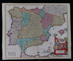 Spain, Justus Danckerts (1635-1701) Accuratis sima Totius Regini Hispania Tabula Per Iustinum