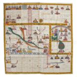 19th Century Indian western state of Maharashtra game of Gyanbazi (Snakes and Ladders) circa 1800,