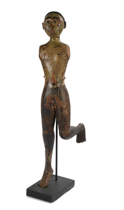 Rare 19th Nicobar Islands male Figure, Bay of Bengal, of a Kareau (Scare Devil) figure having bright