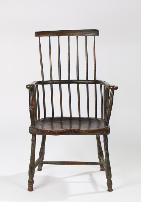 Welsh late 18th/early 19th Century stick back elm and painted armchair, with traces of the old