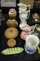 Raisins storage jar, together with a Masons Ironstone jug and ginger jar, pottery vase in the form