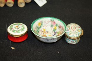 Halcyon Days enamel box, dated 1988, together with one other modern enamel box and a small