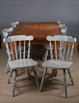 Pine dinning table above turned legs 158cm long 90cm wide , together with six painted spindle back