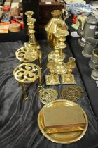 Collection of metal ware, to include three pairs of candlesticks, two stands, a Japanese box,