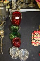 Mixed glass ware, to include water jug with star decoration, pair of octagonal glass table salts,